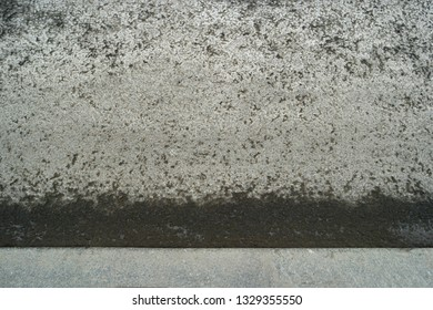 Asphalt surface with curbstone and wet line