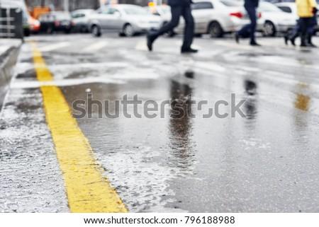 Asphalt winter road
