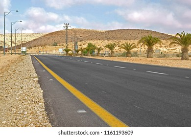 Asphalted road in Sde Boker. Negev, desert and semidesert region of southern Israel