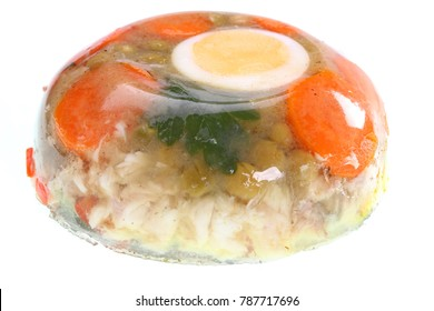 aspic home made, meat-jelly home made on a white background