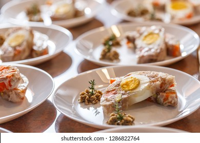 Aspic- jellied rabbit with egg and vegetables