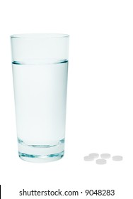 aspirin and fresh water isolated on a white background