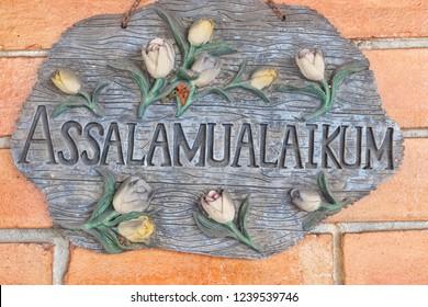 """""""Assalamualaikum"""" or peace be upon you in Arab."""
