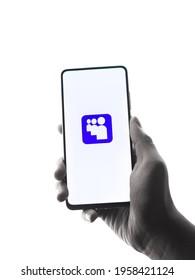 Assam, india - April 10, 2021 : Myspace logo on phone screen stock image.
