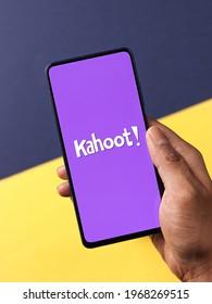 Assam, india - April 19, 2021 : Kahoot! logo on phone screen stock image.