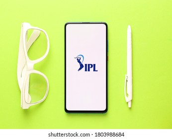 Assam, india - August 27, 2020 : IPL logo on phone screen stock image.