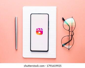 Assam, india - August 7, 2020 : Instagram reels for making short videos.
