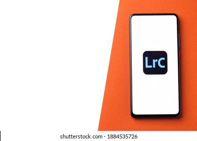 Assam, india - December 20, 2020 : Adobe Lightroom logo on phone screen stock image.