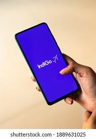 Assam, india - December 20, 2020 : Indigo logo on phone screen stock image.