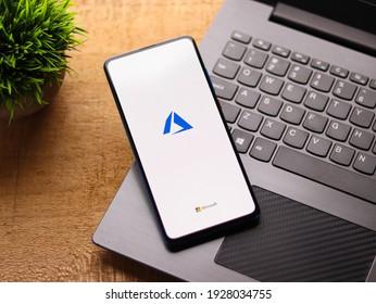 Assam, india - February 19, 2021 : Microsoft Azure logo on phone screen stock image.