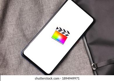 Assam, india - January 15, 2020 : Final Cut Pro logo on phone screen stock image.
