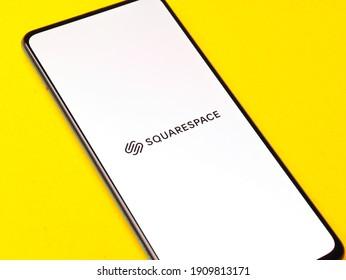 Assam, india - January 15, 2020 : Squarespace logo on phone screen stock image.