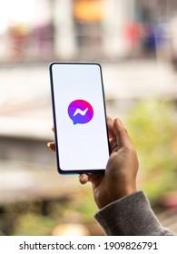 Assam, india - January 31, 2021 : Facebook messenger logo on phone screen stock image.