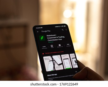 Assam, india - July 1, 2020 : Robinhood app for investment and trading.