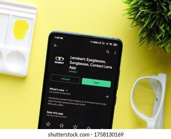 Assam, india - June 09, 2020 :  Lenskart app for buying eyeglasses online.