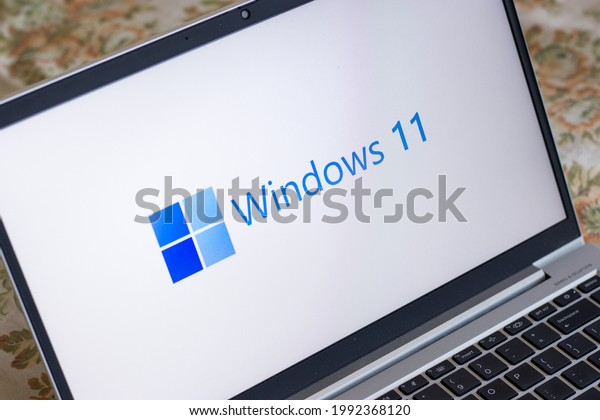 Assam, india - June 17, 2021 : Windows 11 logo on laptop screen stock image.