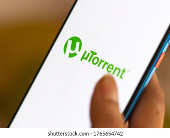 Assam, india - June 25, 2020 : utorrent a torrent downloader.
