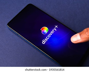 Assam, india - March 10, 2021 : Discovery plus logo on phone screen stock image.