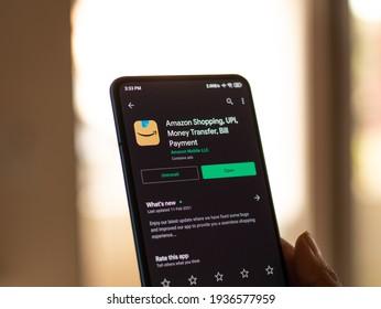 Assam, india - March 10, 2021 : New Amazon logo on phone screen stock image.