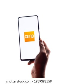 Assam, india - March 10, 2021 : Audible Suno logo on phone screen stock image.