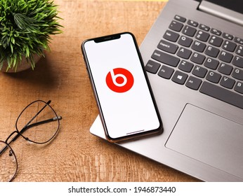 Assam, india - March 30, 2021 : Beats Pill logo on phone screen stock image.
