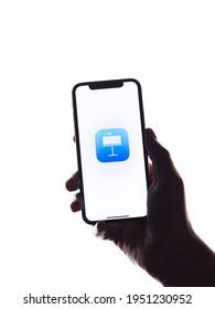 Assam, india - March 30, 2021 : Apple Keynote logo on phone screen stock image.