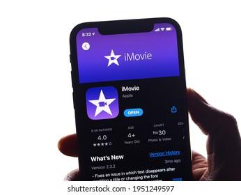 Assam, india - March 30, 2021 : iMovie logo on phone screen stock image.