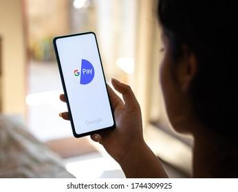 Assam, india - May 28, 2020 : Gpay a money transferring app by google for india through UPI.