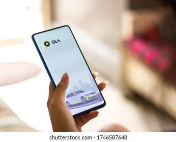 Assam, india - May 28, 2020 : Ola app a cab booking platform.