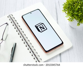 Assam, india - May 29, 2021 : Notion logo on phone screen stock image.