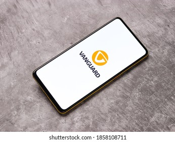 Assam, india - November 15, 2020 : Vanguard world logo on phone screen stock image.