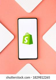 Assam, india - September 12, 2020 : Shopify logo on phone screen stock image.