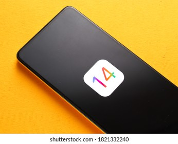 Assam, india - September 24, 2020 : IOS 14 logo on phone screen stock image.