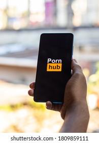Assam, india - September 6, 2020 : Pornhub logo on phone screen stock image.