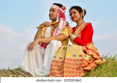 Assamese couple in traditional costume