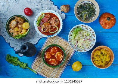 Assamese cuisine South-East Asia Traditional assorted dishes, Top view.