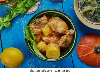 Assamese Duck Curry , cuisine South-East Asia Traditional assorted dishes, Top view.