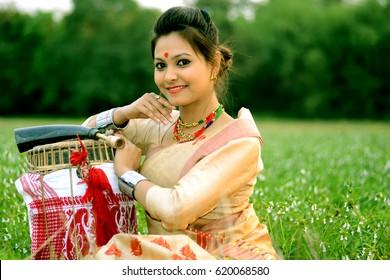 An Assamese girl in traditional attire during Bihu festival of Assam.