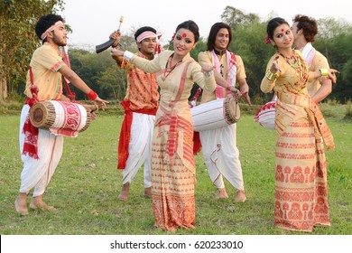 Assam,India, 13 April 2017:  Youths perform Bihu dance on the occasion of Rongali Bihu, one of the major festival of Assamese community of India, in Nagaon district of Assam.