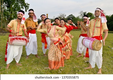 Assam,India, April 12, 2019: Youths perform Bihu dance on the occasion of Rongali Bihu, one of the major festival of Assamese community of India, in Nagaon district of Assam