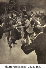 Assassination of President William McKinley at Pan-American Exposition, Buffalo, Sept. 5, 1901. Leon Czolgosz, a 28-year-old steel worker turned anarchist, shooting the President with a small pistol,