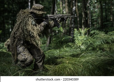 Assault of polish camouflaged soldier with assault rifle in forest