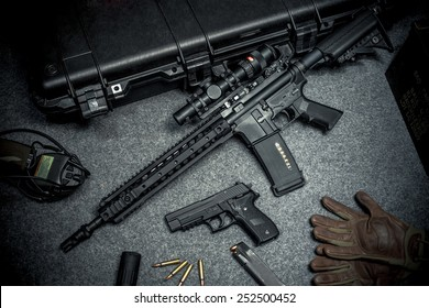 assault rifle and equipment for background