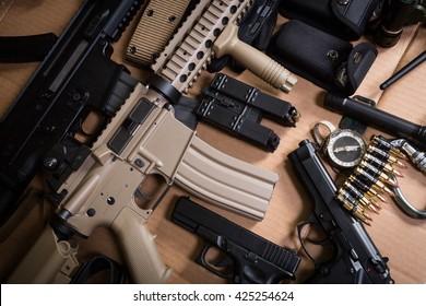 Assault rifle, gun, knife with sheath, compass