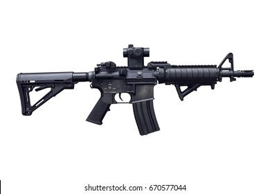 Assault rifle isolated on white.