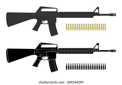 Assault rifles with bullets. Video game resources. Raster clip art color and silhouette illustrations isolated on white