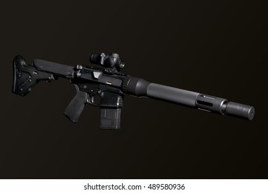 Assault semi-automatic rifle with short silencer on dark background isolated with clipping path.