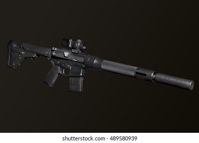 Assault semi-automatic rifle with silencer on dark background isolated with clipping path.