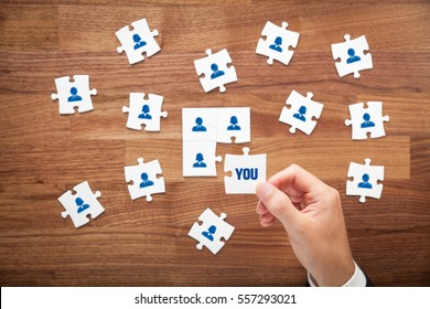 Assemble a team concept. Business team, human resources cooperation, connection and unity concepts. Good team fit together like a puzzle pieces.