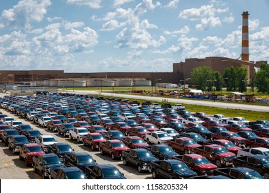 Assembled trucks are ready for delivery at GM's Chevrolet Silverado and GMC Sierra pickup truck plant in Fort Wayne, Indiana, U.S., July 25, 2018. Picture taken on July 25, 2018.